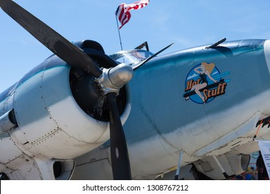 Greenfield, Indiana USA - June 18, 2016: The CAF Warbird Expo, Lockheed PV-2 Harpoon, close up of right engine and it is nose art
