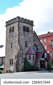 Greenfield, USA - October 25, 2018 - All Souls Church, Unitarian Universalist, originally the Third Congregational Society of Greenfield, Massachusetts