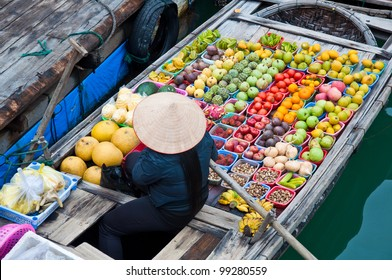 Greengrocer on bamboo floating boat, Ha long bay, Vietnam