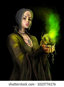 Green-haired witch performs witchcraft on a black background