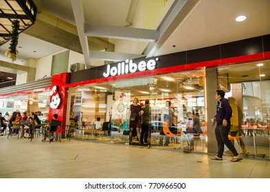 Greenhills Shopping Center, San Juan, Philippines - December 8, 2017: Jollibee entrance