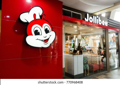 Greenhills Shopping Center, San Juan, Philippines - December 8, 2017: Jollibee head logo