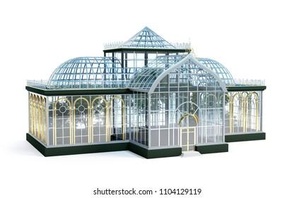 greenhouse botanical garden, glass house. 3d illustration
