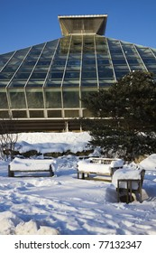 Greenhouse in Madison, Wisconsin - winter time.