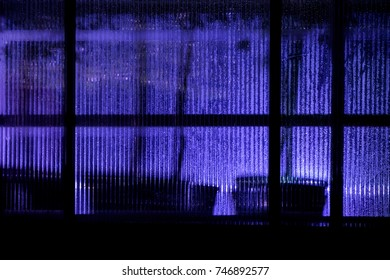 Greenhouse window glows eerie light to the darkness of a wet winter night in Oulu, Finland.