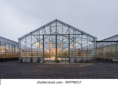 Greenhouses  with the cloudy sky