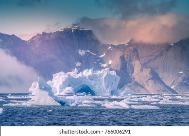 Greenland, arctic : amazing iceberg on the sea, we can still see this before complete climate change