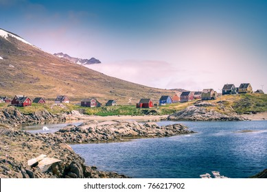 Greenland : colored houses, bay with an inuit village