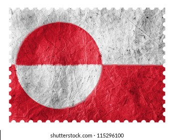 The Greenland flag painted on  paper postage  stamp