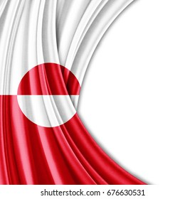 Greenland flag of silk with copyspace for your text or images and white background-3D illustration