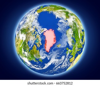 Greenland highlighted in red on planet Earth. 3D illustration with detailed planet surface. Elements of this image furnished by NASA.