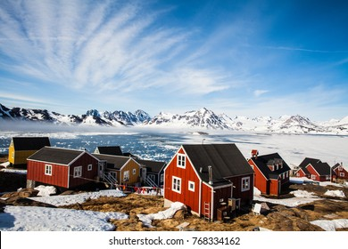 Greenland May 8 2017. Kulusuk village, east Greenland