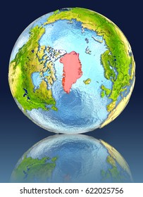 Greenland on globe with reflection. Illustration with detailed planet surface. Elements of this image furnished by NASA.