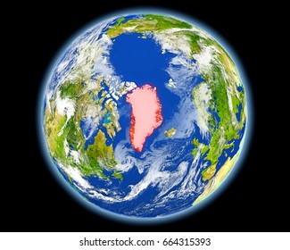 Greenland on planet Earth. 3D illustration with detailed planet surface. Elements of this image furnished by NASA.