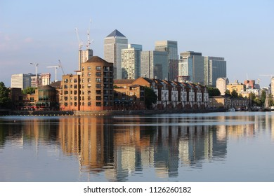 Greenland Quay Dock Surrey Quays, Canary Wharf Skyline In the Background