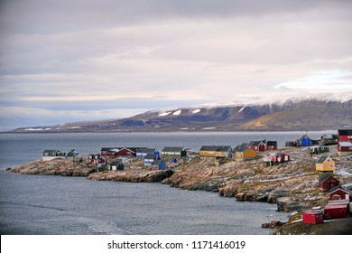 Greenland. Settlement of Inuit on the east coast of the island.