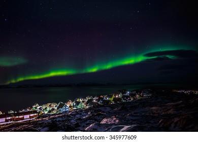 Greenlanic Northern lights, nearby Nuuk, Greenland