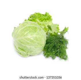 Greens isolated on white background