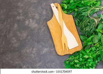 Greens on a concrete background