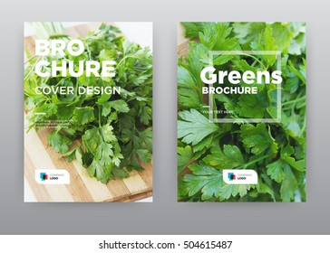 Greens on wood Food Kitchen Trend annual report journal magazine banner poster brochure flyer design template, Leaflet cover presentation abstract flat background, layout in A4 size