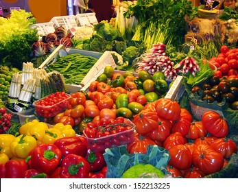 Greens and vegetables at the market stall