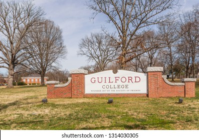 GREENSBORO, NC, USA-2/14/19: The entrance sign for the campus of Guilford College, founded by the Quakers in 1837.