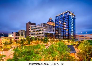 Greensboro, North Carolina, USA downtown city skyline.