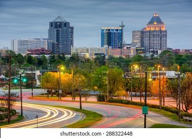 Greensboro, North Carolina, USA downtown skyline.