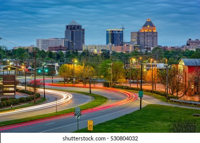 Greensboro, North Carolina, USA downtown skyline.