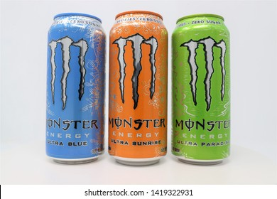 Greensboro, North Carolina / U.S.A. - June 8, 2019: Three flavors of sugar free Monster Energy drinks which are manufactured by Monster Beverage.