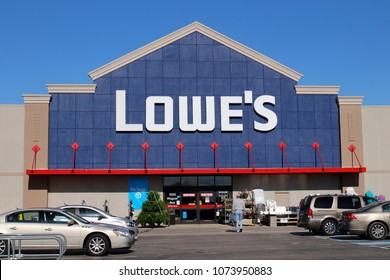 Greenville - Circa April 2018: Lowe's Home Improvement Warehouse. Lowe's operates retail home improvement and appliance stores in North America III