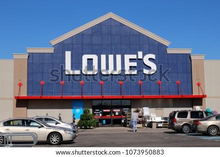 04e05e5057 Greenville - Circa April 2018  Lowe s Home Improvement Warehouse. Lowe s  operates retail home improvement