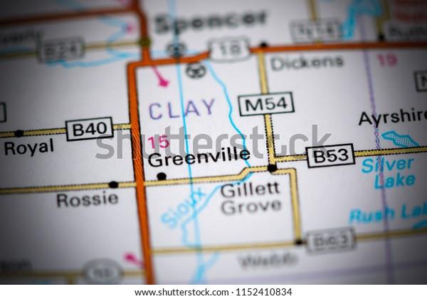 Greenville. Iowa. USA on a map
