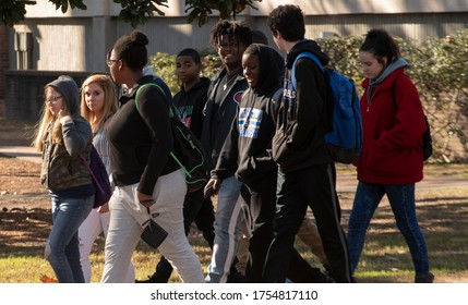 Greenville NC, United States- 01/19/2019: A diverse group of high school students tour the campus of ECU.