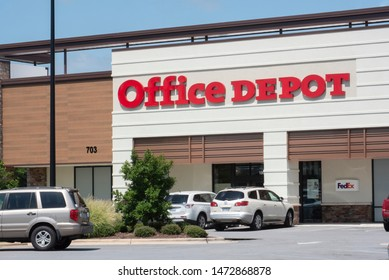 Greenville, NC/United States- 08/06/2019: An Office Depot retail location from the outside.