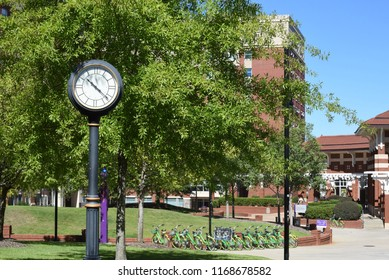 Greenville, NC/United States- 08/29/2018: A look towards the west end dorms and dining hall on ECU's campus.