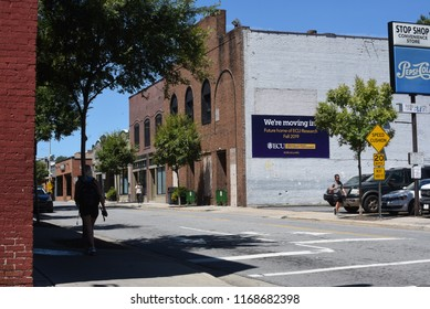 Greenville, NC/United States- 08/29/2018: A look along 5th street in downtown Greenville, just off ECU's campus.