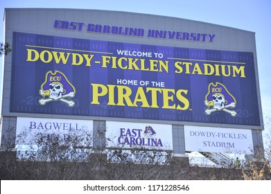 Greenville, NC/United States- 10/03/2016: A look at the back of ECU's scoreboard just outside Dowdy Ficklen Stadium.
