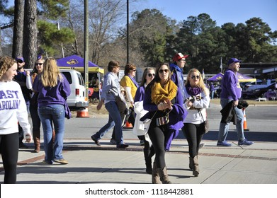 Greenville, NC/US- 09/21/2013: ECU tailgaters make their way to Dowdy Ficklen Stadium for a matchup against the Tulane Green Wave.