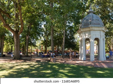 Greenville, North Carolina/United States- 08/30/2018: Students participate in a career fair on the ECU mall near the cupola.