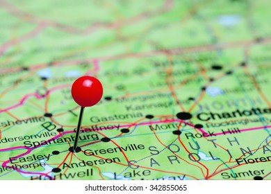 Greenville pinned on a map of USA