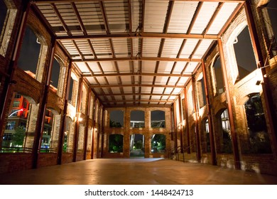 GREENVILLE, SC (USA) - July 5, 2019:  Interior view of the Wyche Pavilion along the downtown River Walk at night.