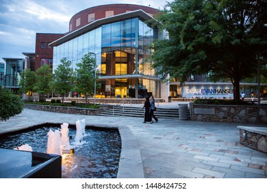 GREENVILLE, SC (USA) - July 5, 2019:  A view of the Peace Center for the performing arts at dusk in downtown Greenville.