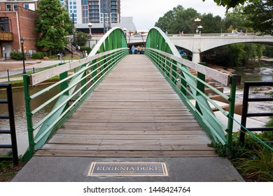GREENVILLE, SC (USA) - July 5, 2019:  The Eugenia Duke Bridge crossing the Reedy River on the downtown River Walk.