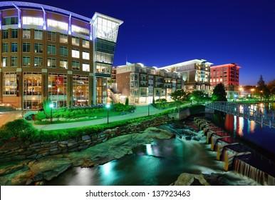 Greenville, South Carolina at Falls Park in downtown at night.