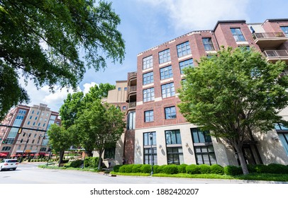 GREENVILLE, SOUTH CAROLINA - May 20, 2020: Wide view of popular and growing downtown Greenville, an up and coming city in upstate South Carolina with lots of retail, real estate development, and food