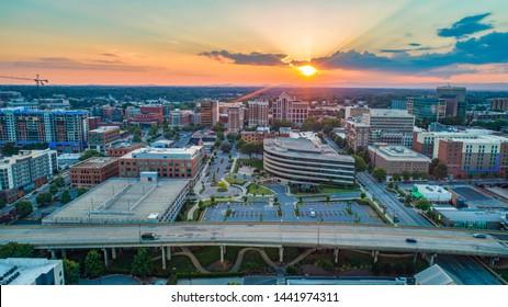 Greenville South Carolina SC Skyline Aerial at Sunset.