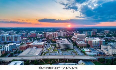 Greenville South Carolina Skyline Aerial at Sunset.