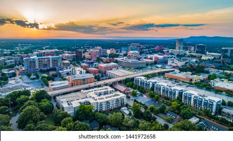 Greenville South Carolina Sunset Aerial.