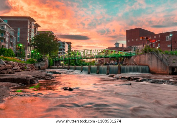 Greenville, South Carolina - Sunset Downtown citytscape, Falls Park